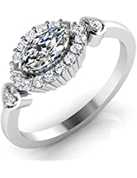 IskiUski White Gold And American Diamond Ring For Women - B075VHCT97
