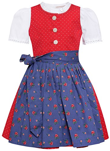 Berwin und Wolff Mädchen Trachten-Mode Dirndl für Babies und Kleinkinder Evi in Rot traditionell, Farbe:Rot, Größe:74