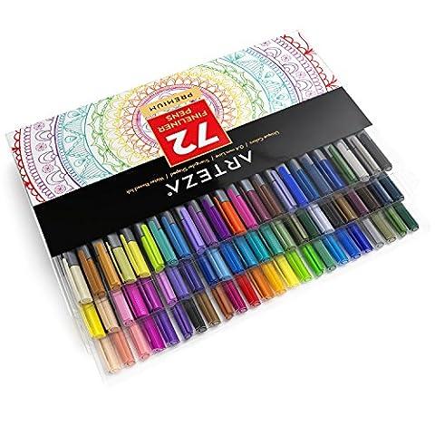 Arteza Fineliner stylos–72-colors–0,4mm–Metal-clad Niche Conseils–(lot de 72)