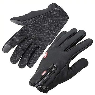 YsTmS Handschuhe Anti Slip Windproof Thermal Warm Touchscreen Handschuh Atmungsaktiv Winter Männer Frauen Schwarz Zipper von YsTmS - Outdoor Shop