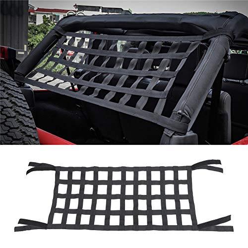 Filet de rangement pour hamacs, barre de retenue de toit, barre de retenue pour toit, couverture souple pour Jeep Wrangler JK modèles de 2007 à 18, noir
