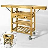 SoBuy Carrello cucina di Bambù, Carrello di servizi, Tavolo da cucina, FKW25-N(natura/92 * 40 * 65-95-125cm),IT