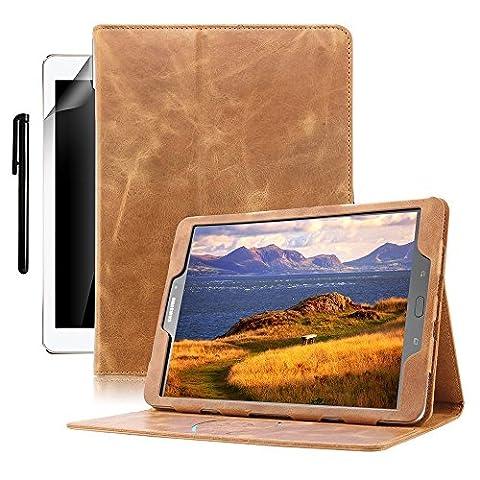boriyuan Echt Leder Hülle Case Folio Tasche Cover für das Samsung Galaxy Note 10.1 2014 Edition SM-P600 Tablet Braun aus echtem Leder mit Standfunktion, Magnetverschluss, Unterstützt Sleep / Wake Funktion, im Bookstyle inkl. Eingabestift,