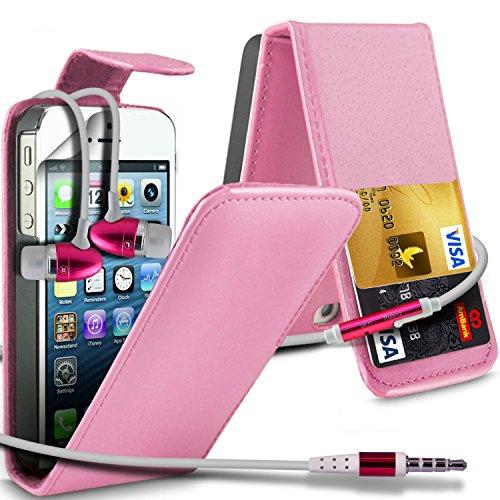 ( Hot Pink ) Apple Iphone 5 Premium Stylish Protective Faux Skin Case flip carte de crédit / débit Slot couverture en cuir & Protecteur d'écran LCD Garde & Aluminium Dans Ear intra-auriculaires écoute ( Bébé Rose écouteurs )