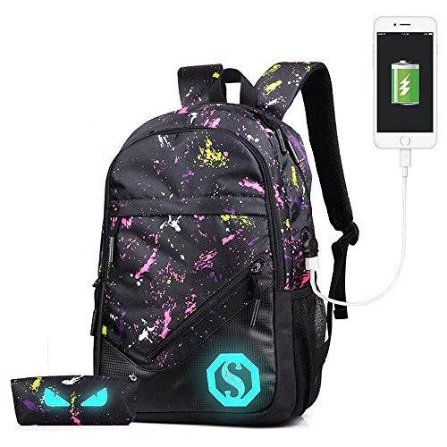 Zaino luminoso dello zaino dello zaino di viaggio del daypacks dello zaino di lusso luminoso con il porto di ricarica del USB (Pink graffiti-01)