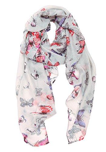 Frauen moderne Schal, Poncho, Stola mit Schmetterling Print-Design und Blumen-Vogel-Stil (Kostüm Schattierungen Grau Von)