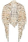 ArtiDeco Damen Umschlagtücher Stola für Abendkleid 1920s Retro Schal Hochzeit Party Braut Schal Gatsby Kostüm Accessoires (Gold Stil 2)