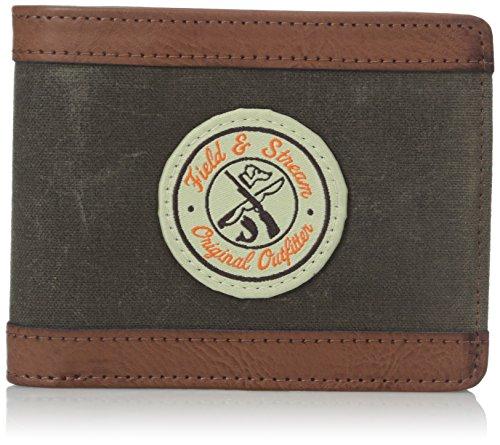 Field & Stream Jordan Leinwand/Pvc 2-in-1Bifold Wallet W COIN Beutel (oliv/braun)