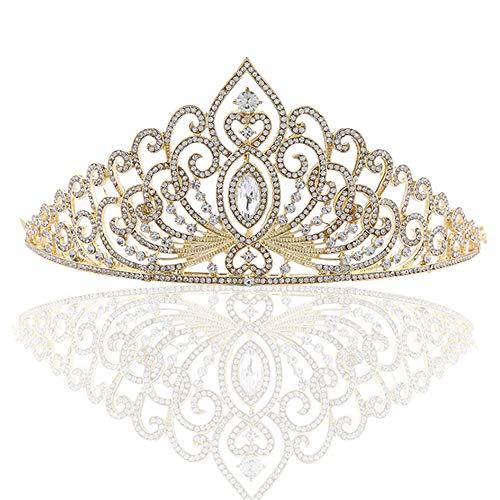 opfschmuck Damen Haarband Sparkle Diamond Intarsien Braut Ornament Legierung Krone Haar Braut Kopfschmuck Kristall Hochzeit Braut Haarschmuck ( Color : Gold , Size : 14*7.5cm ) ()