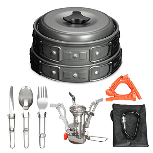 OUTON 15PCS Camping Cookware Set Non-Stick Pot & Pan Set, Gas Stove 3000W, Canister Stand Tripod, Folding Spork Set, Carabiner with Mesh Bag for Camping Backpacking Hiking Picnic Outdoor