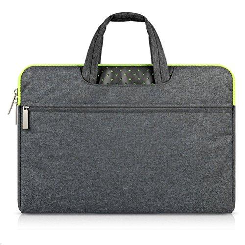 G7Explorer Water-resistant Laptop Sleeve Case Bag Portable Computer handbag For Apple Macbook Air Pro and other Notebook 13.3 inches Deep Gray & Green Zipper - Gun Bag Neoprene
