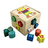 #3: Shape Sorter Cube 12 Geometric Blocks - (1TNG118) - Wooden Puzzles Shape Color Recognition