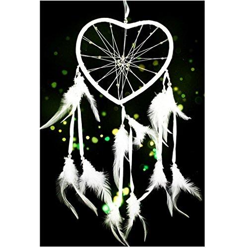 Ouneed® Plume Cercle de Attrape-rêves Ruban forme Coeur (Blanc)