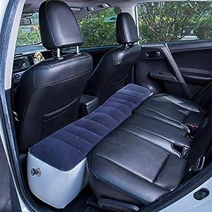 globalqi Auto Luftmatratze, Aufblasbare Rücksitz Lücke Isomatte Luftbett Kissen mit Motorpumpe für Auto Reise Camping…