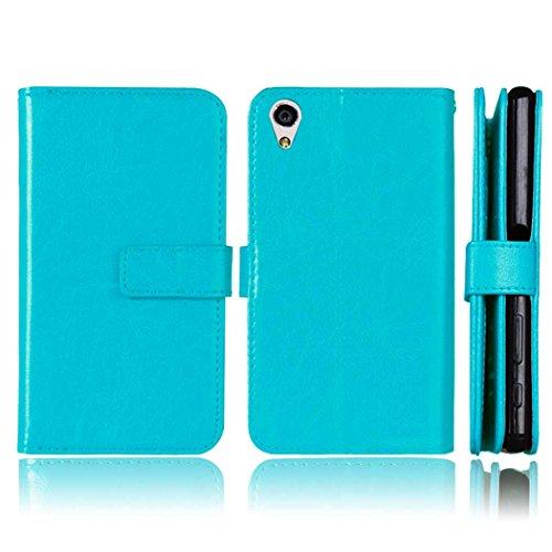 Coque Sony Xperia X, Meet de pour Sony Xperia X [9 emplacements pour cartes] Housse étui coque Portefeuille Case Couvrir PU Cuir Shell Case Cover smart flip cuir Case à rabat Coque de Protection en Cu bleu