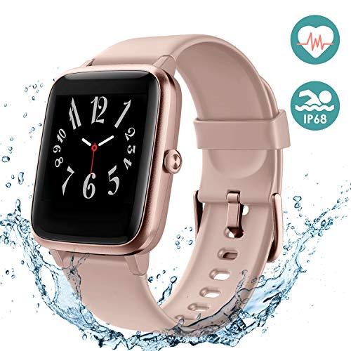 Arbily Fitness Armband Smartwatch Armbanduhr, Fitness Tracker für Damen Herren Kinder, Sportuhr mit Schrittzähler Pulsmesser Wasserdicht IP68 zum Schwimmen (Rosa)