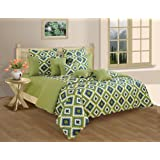 Swayam Shades N More Printed Cotton Double Duvet Cover - Green (TSR02-1408)