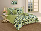 Swayam Printed Cotton Bedsheet with 2 Pillow Covers - King Size, Green (DBS XL-1408)