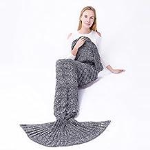 A Mano a Maglia Mermaid Tail Coperta, Sofa Quilt Sacco a Pelo Soggiorno Calda Coperta per Adulti e Ragazzi Bambini, 74 pollici x 35 pollici (190cm x 90cm) – Grigio
