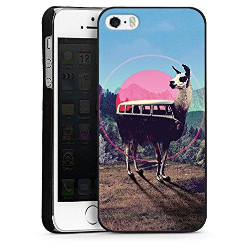 Apple iPhone 5 Housse Outdoor Étui militaire Coque Lama Hipster Bus CasDur noir