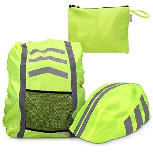 kwmobile Regenschutz Set für Helm Rucksack – Helmüberzug Regenhülle Schulranzen Helmschutz – Schutzhülle Fahrradhelm Ranzen – unisex - 5