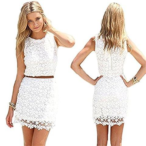 Saoirse Damen Weiß Sexy Lace Spitzen Kleid