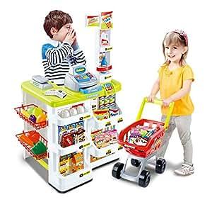 kaufladen einkaufsladen kaufmannsladen kinder supermarkt mit einkaufswagen und kasse. Black Bedroom Furniture Sets. Home Design Ideas