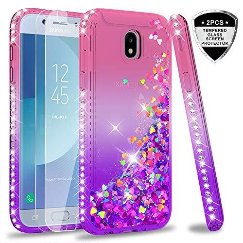 LeYi Hülle Galaxy J5 2017 Glitzer Handyhülle mit Panzerglas Schutzfolie(2 Stück),Cover Diamond Rhinestone Schutzhülle für Case Samsung J5 2017 Pro Duos Handy Hüllen ZX Gradient Pink Purple - Cool Glitzer