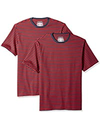 Amazon Essentials Loose-Fit Short-Sleeve Stripe Crewneck T-Shirts Uomo, Pacco da 2