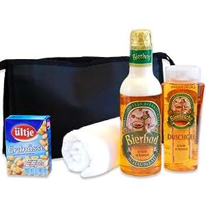 handverpacktes Männergeschenke Set Feierabend inklusive Bierbad und Duschgel plus Erdnüsse dazu Waschtasche DAS ORIGINAL