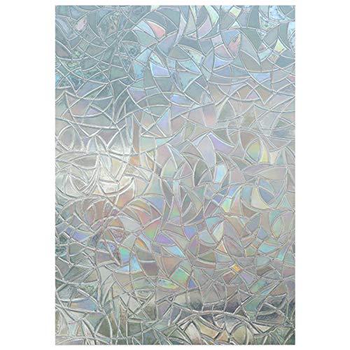 EASEHOME Selbstklebende Fensterschutzfolie Sichtschutzfolie, Fensterfolie Statisch Fenster Folie 17.7'x78.7'(45x200cm), Regenbogen Bunte Muster