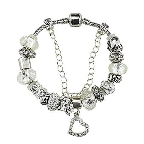 White Birch Heart Charm Bracelet with Charm for Pandora Bracelet Plus Size for Women Silver Plated White 22 cm Jewellery