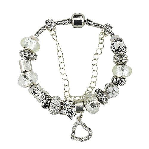 White Birch Chapado en plata Flor Charms pulseras abalorios para pandora mujer ni a Blanco