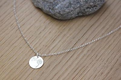 Collier en argent massif avec pendentif médaille gravée pissenlit
