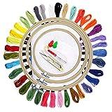 Faylapa Herramienta de Punto de Cruz Kit con 3 Aros Bordado,36 Colores de Hilo,Tela de punto cruz, Juego de agujas y otra herramienta de bordado