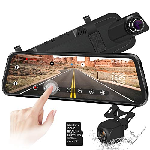 Caméra de recul 10' Miroir Dash Cam Caméra à écran Tactile Caméra de recul 170 ° à l'avant...