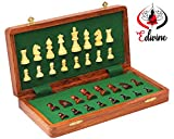 Wooden Magnetic Folding Chess Board With Storage Set '25.3cm x 25.3cm'/Premium Quatily Sheesham/White Wood chess / Wooden Playing Chess/Travel Games Magnetic Chess Sets