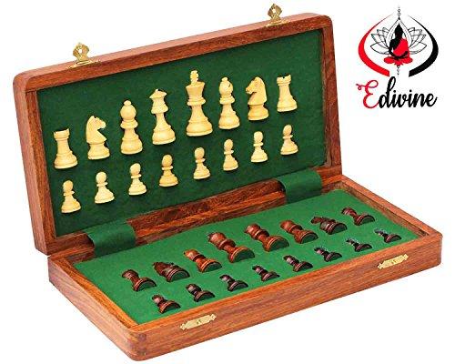 Schach-set Speicher Holz Mit (Holz Magnetverschluss faltbar Schachbrett mit Speicher-Set