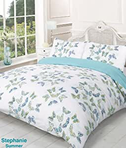 Stephanie Reversible Summer Butterfly Double Bed Size Duvet Cover Set