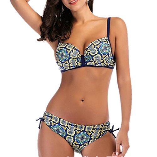 Ai.Moichien Frauen Badeanzüge 2 Stück geometrische Muster gedruckt Bikini Set Badeanzug Beachwear