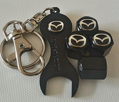 MAZDA roue Bouchons de valve casquettes exclusif à nous avec noir trousseau de clé à tous les modèles SPORT MAZDA2 CX-3 MX-5 MAZDA3 MAZDA6 Capuchon de valve