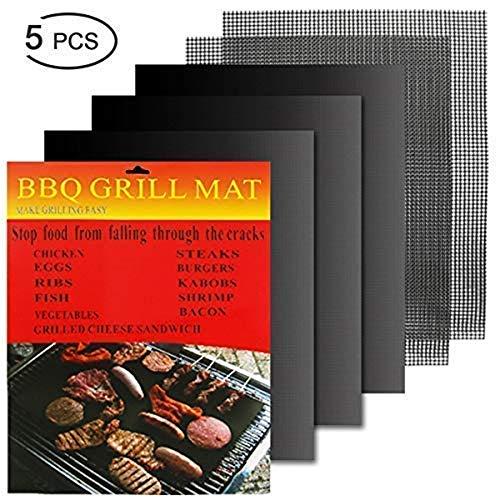 Hootracker 5pcs Parrilla BBQ Mat, Antiadherente Oven Liner Teflon Cooking Mats, fácil de Limpiar Barbacoa...