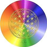 atalantes spirit Blume des Lebens Mauspad - Rainbow Ø 19cm, rund - Energieuntersetzer Regenbogen - Unterseite MousePad Lebensblume: Moosgummi, schwarz