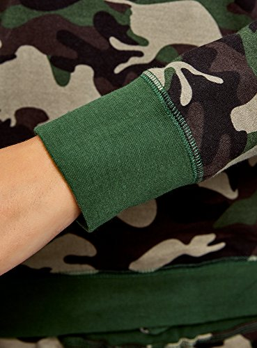 oodji Ultra Femme Sweat-Shirt Basique Imprimé Vert (6669O)