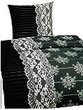 Leonado Vicenti 4 tlg. / 2x2 tlg. Bettwäsche 135x200 cm in schwarz/grau aus Microfaser modern mit Kreisen Set mit Reißverschluss