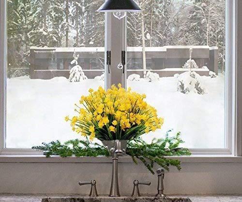 Y wang 6Stück Kunstleder Blumen Künstliche Gelb Narzissen Fake Blumen Greenery Sträucher Pflanzen Kunststoff Sträucher Innen Außen Decor.