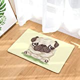 Nunbee Fußmatte Digitaldruck Designe Anti Rutsch Unterlage Wasseraufnahme Praktische Teppich Schmutzfangmatte Haustür Flur Innenbereich Aussen Lustig, Mops7 50 * 80cm