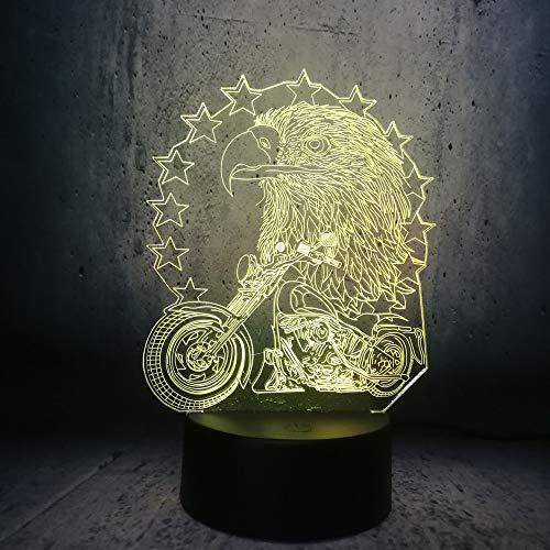 Kreative Adler und Motorrad 3D LED Nachtlicht Junge Geschenk Kind Schreibtisch Motorrad Lampara RGB Teenager Geschenke Raum Dekor Ausstellung - Adler-raum-dekor