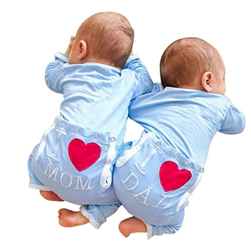 (2018Fashion Baby Strampler Jumpsuit Mingfa Buchstabe I Love Dad Mom Drucken Infant Kleinkind Jungen Mädchen Kleidung Outfit, Kinder, Blau, (24M) UK)
