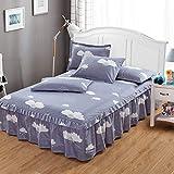 CHLCH Protège Matelas Imperméable et Respirante de Flanelle,Jupe de lit coréenne Couverture de lit Simple Nuage fleurissant 150 * 200 * 45cm